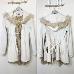 BKE Cream Gold Lace Wool Fur Hooded Pea Coat Small